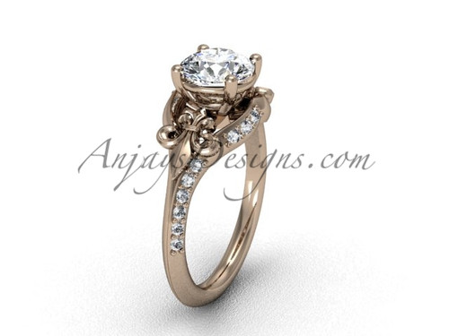 14kt rose gold diamond Fleur de Lis, eternity, One Moissanite engagement ring VD208125