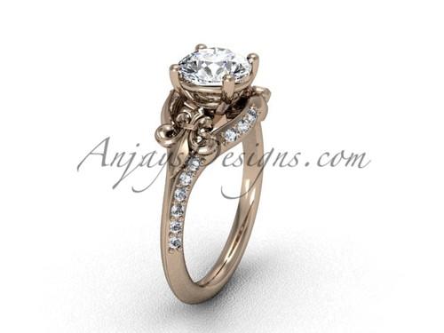 14kt rose gold diamond Fleur de Lis, eternity, One Moissanite engagement ring VD208125
