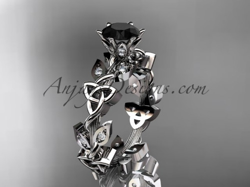 14kt white gold diamond celtic trinity knot wedding ring, engagement ring with a Black Diamond center stoneCT7209