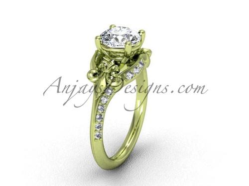 14kt yellow gold diamond Fleur de Lis, eternity, One Moissanite engagement ring VD208125