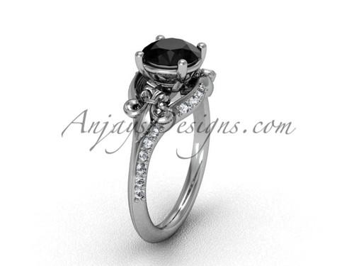 14kt white gold diamond Fleur de Lis, eternity, Black Diamond engagement ring VD208125