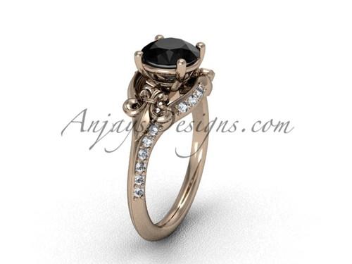 14kt rose gold diamond Fleur de Lis, eternity, Black Diamond engagement ring VD208125