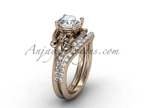 "14kt rose gold diamond Fleur de Lis, wedding band, eternity engagement ring, ""Forever One"" Moissanite engagement set VD208125S"