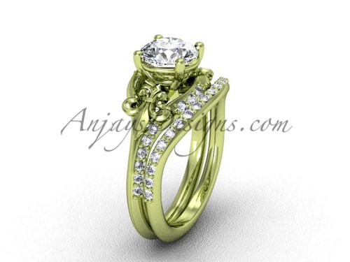 "14kt yellow gold diamond Fleur de Lis, wedding band, eternity engagement ring, ""Forever One"" Moissanite engagement set VD208125S"