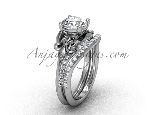 "Platinum diamond Fleur de Lis, wedding band, eternity engagement ring, ""Forever One"" Moissanite engagement set VD208125S"