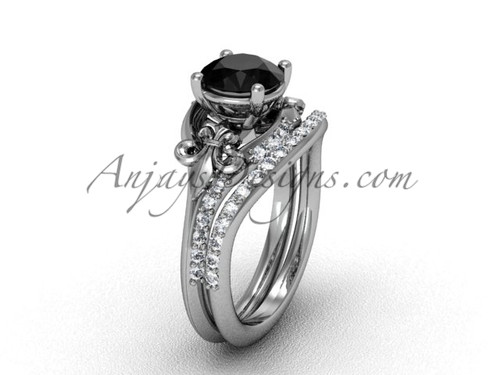 14kt white gold diamond Fleur de Lis, wedding band, engagement ring, enhanced Black Diamond engagement set VD208125S