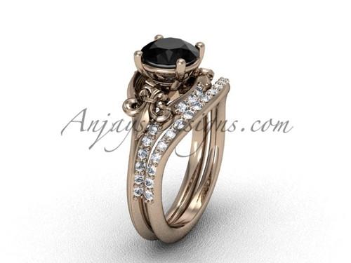 14kt rose gold diamond Fleur de Lis, wedding band, engagement ring, enhanced Black Diamond engagement set VD208125S