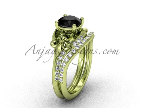 14kt yellow gold diamond Fleur de Lis, wedding band, engagement ring, enhanced Black Diamond engagement set VD208125S