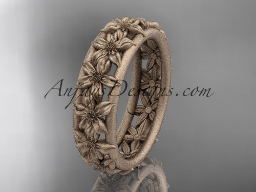 14kt rose gold flower wedding ring, engagement ring, wedding band ADLR163G