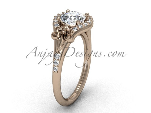 14kt rose gold diamond Fleur de Lis, eternity engagement ring VD208126
