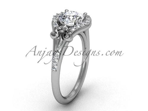 14kt white gold diamond Fleur de Lis, eternity, One Moissanite engagement ring VD208126