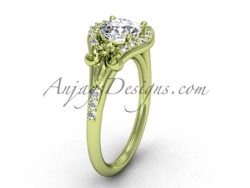 14kt yellow gold diamond Fleur de Lis, eternity, One Moissanite engagement ring VD208126