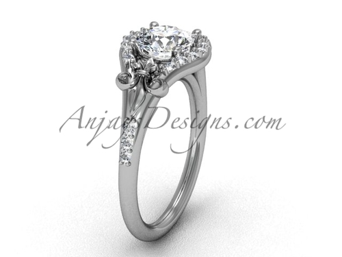 Platinum diamond Fleur de Lis, eternity, One Moissanite engagement ring VD208126