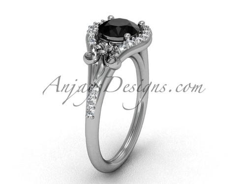 14kt white gold diamond Fleur de Lis, eternity, enhanced Black Diamond engagement ring VD208126