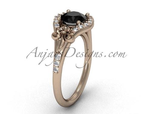 14kt rose gold diamond Fleur de Lis, eternity, enhanced Black Diamond engagement ring VD208126