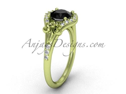 14kt yellow gold diamond Fleur de Lis, eternity, enhanced Black Diamond engagement ring VD208126
