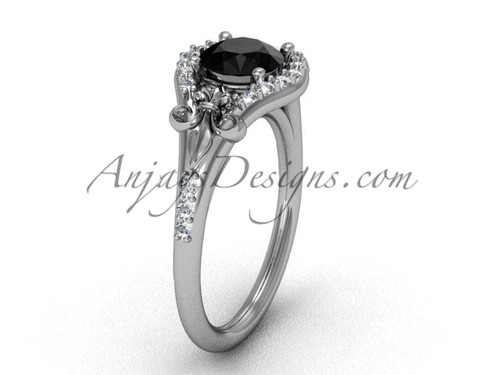 Platinum diamond Fleur de Lis, eternity, enhanced Black Diamond engagement ring VD208126