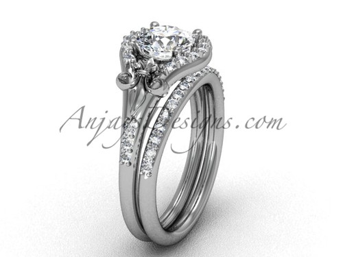 14kt white gold diamond Fleur de Lis, wedding band, eternity engagement ring, engagement set VD208126S