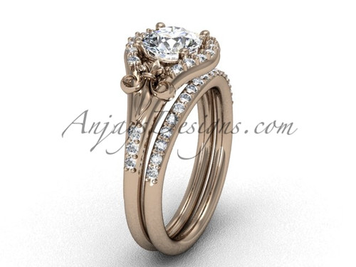 Fleur de Lis Wedding Set, Rose Gold Engagement Ring VD208126S