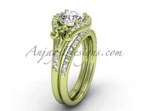 Fleur de Lis Ring, Yellow Gold Bridal Ring Set VD208126S