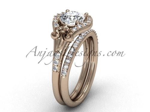 Moissanite Ring Rose Gold Fleur de Lis Wedding Set VD208126S