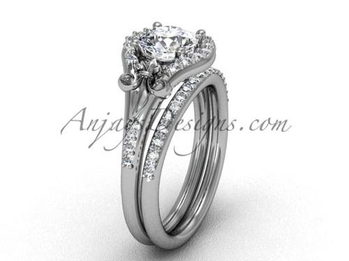 Fleur de Lis Ring, Platinum Moissanite Bridal Set VD208126S