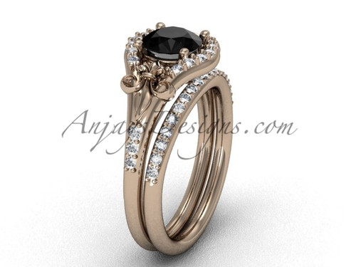 14kt rose gold diamond Fleur de Lis,wedding band, eternity engagement ring, Black Diamond engagement set VD208126S | Anjaysdesigns.com