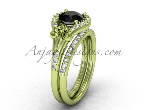 14kt yellow gold diamond Fleur de Lis,wedding band, eternity engagement ring, Black Diamond engagement set VD208126S | Anjaysdesigns.com