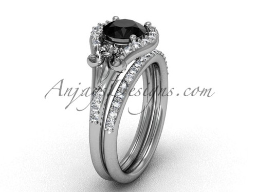 Platinum diamond Fleur de Lis,wedding band, eternity engagement ring, Black Diamond engagement set VD208126S