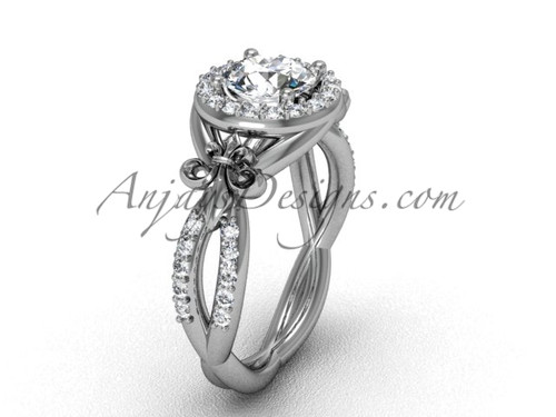 14kt white gold diamond Fleur de Lis, halo, eternity engagement ring VD208127