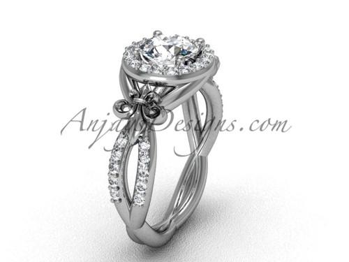 14kt white gold diamond Fleur de Lis, halo, eternity engagement ring, One Moissanite VD208127