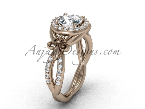 14kt rose gold diamond Fleur de Lis, halo, eternity engagement ring, One Moissanite VD208127