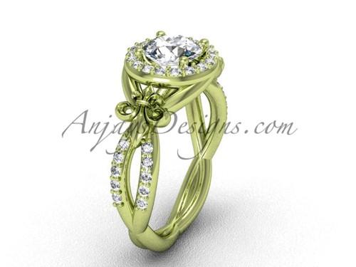 14kt yellow gold diamond Fleur de Lis, halo, eternity engagement ring, One Moissanite VD208127