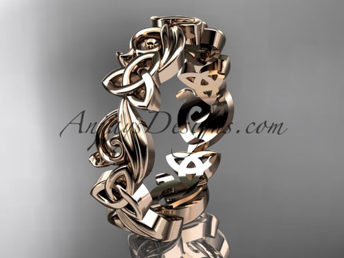 Celtic Wedding Rings no Diamonds Rose Gold Band CT7191B