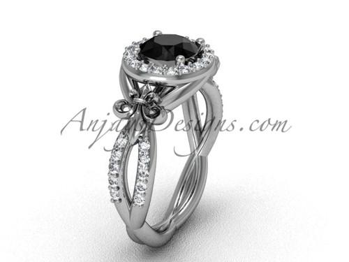 14kt white gold diamond Fleur de Lis, halo, eternity engagement ring, enhanced Black Diamond VD208127