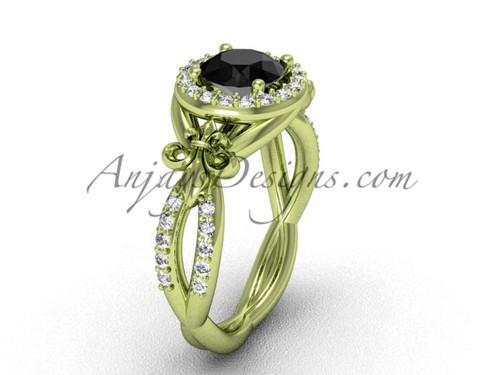 14kt yellow gold diamond Fleur de Lis, halo, eternity engagement ring, enhanced Black Diamond VD208127