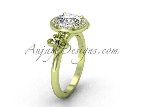 14kt yellow gold diamond, halo ring, Fleur de Lis engagement ring VD208129