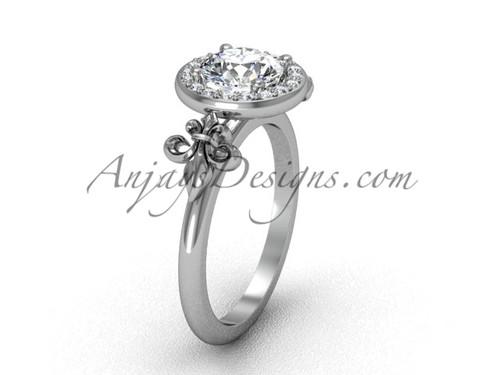 Platinum diamond, halo ring, Fleur de Lis engagement ring VD208129
