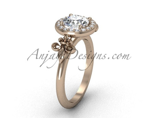 14kt rose gold diamond, halo ring, Fleur de Lis engagement ring, One Moissanite VD208129