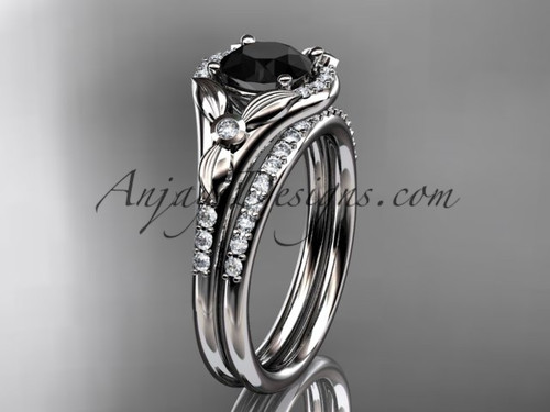 14kt white gold diamond floral wedding ring, engagement set with a Black Diamond center stone ADLR126S