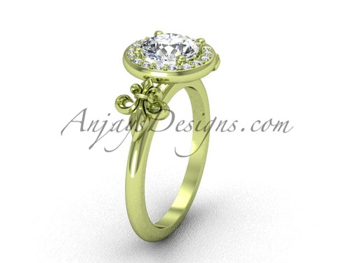 14kt yellow gold diamond, halo ring, Fleur de Lis engagement ring, One Moissanite VD208129