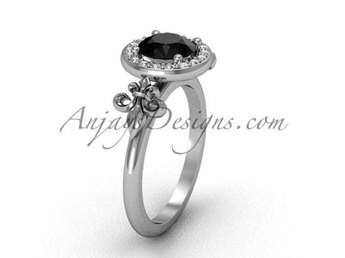 14kt white gold diamond, halo ring, Fleur de Lis engagement ring, enhanced Black Diamond VD208129