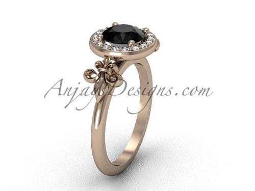 14kt rose gold diamond, halo ring, Fleur de Lis engagement ring, enhanced Black Diamond VD208129