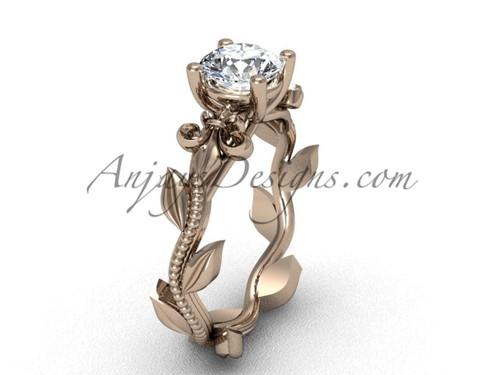 14kt rose gold leaf and vine, Fleur de Lis engagement ring VD208223