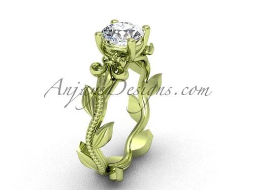 14kt yellow gold leaf and vine, Fleur de Lis, One Moissanite engagement ring VD208223
