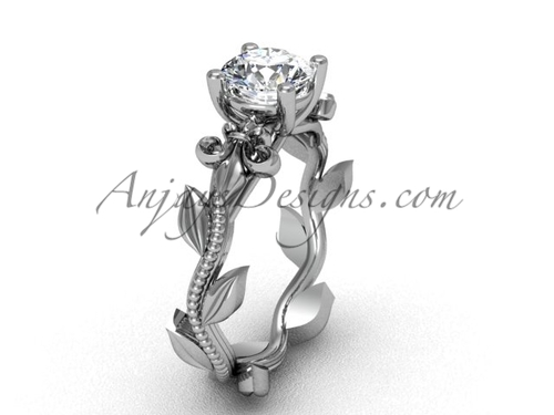 Platinum leaf and vine, Fleur de Lis, One Moissanite engagement ring VD208223