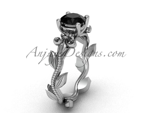 Platinum leaf and vine, Fleur de Lis, Black Diamond engagement ring VD208223