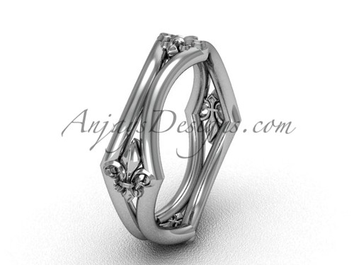 14k White Gold Fleur de Lis Wedding Ring VD10031