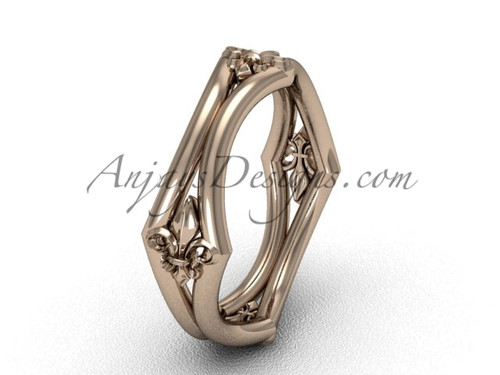 14k Rose Gold Fleur de Lis Wedding Ring VD10031