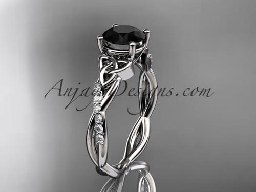 platinum diamond celtic trinity knot wedding ring, engagement ring with a Black Diamond center stone CT7388